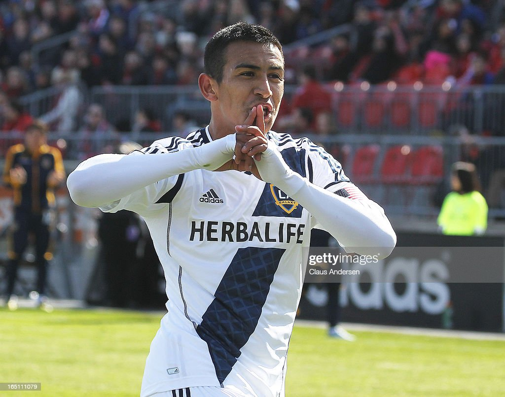 Jose Villareal #33 of the Los Angeles Galaxy scores the tying goal in an MLS game against the Toronto FC on March 30, 2013 at BMO Field in Toronto, Ontario, Canada. The Los Angeles Galaxy and Toronto FC played to a 2-2 tie.