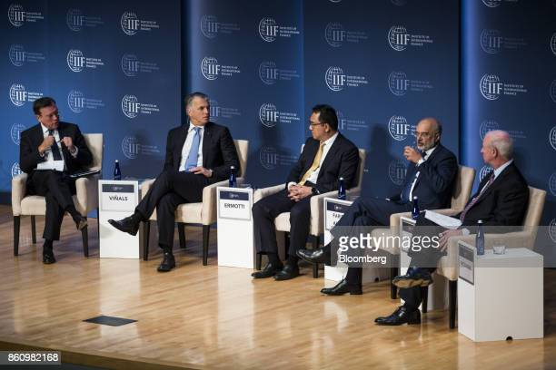 Jose Vinals chairman at Standard Chartered Bank from left Sergio Ermotti chief executive officer of UBS Group AG Datuk Abdul Farid Alias group...