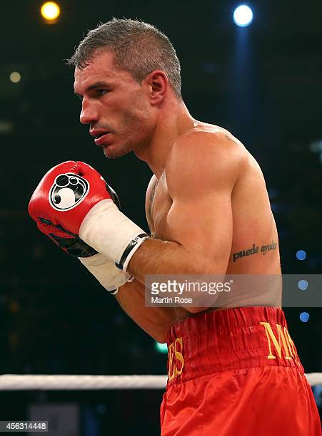 Jose Yebes of Spain in action during the middleweight fight at Sparkassen Arena on September 27 2014 in Kiel Germany
