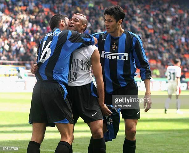 Jose Ze Maria of Inter celebrates his goal with Julio Ricardo Cruz during the Seria A game between Inter Milan and Cagliari at the Stadio Giuseppe...