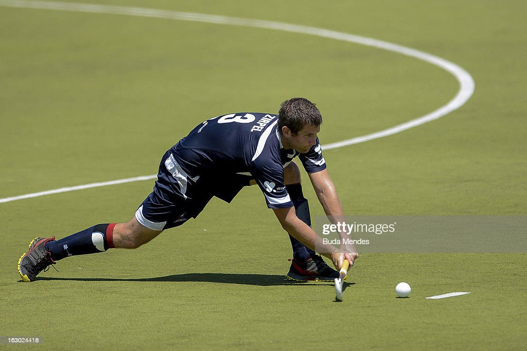 Jose Zirpel of Chile in action during a match between Brazil and Chile as part of the Hockey World League - Round 2 at Complexo Esportivo de Deodoro on March 03, 2013 in Rio de Janeiro, Brazil.