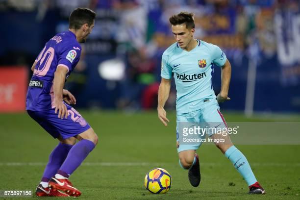Joseba Zaldua of Leganes Denis Suarez of FC Barcelona during the Spanish Primera Division match between Leganes v FC Barcelona at the Estadio...