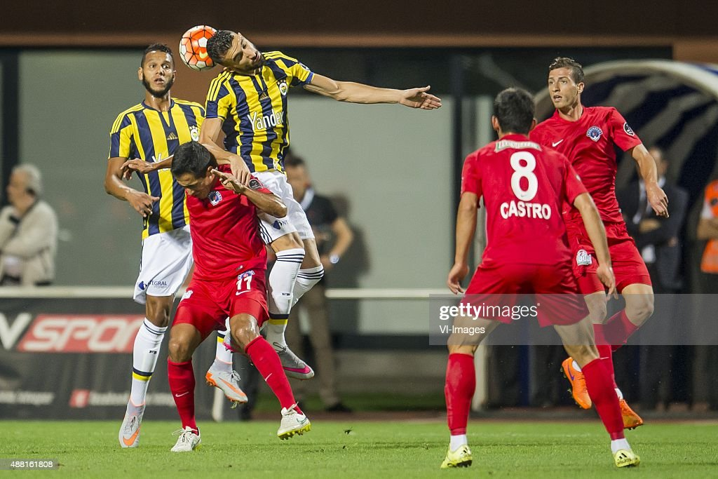 Josef de Souza Dias of Fenerbahce, <a gi-track='captionPersonalityLinkClicked' href=/galleries/search?phrase=Mehmet+Topal&family=editorial&specificpeople=3914018 ng-click='$event.stopPropagation()'>Mehmet Topal</a> of Fenerbahce, Ezequiel Oscar Scarione of Kasimpasa SK, <a gi-track='captionPersonalityLinkClicked' href=/galleries/search?phrase=Andre+Castro&family=editorial&specificpeople=7124527 ng-click='$event.stopPropagation()'>Andre Castro</a> Pereira of Kasimpasa SK, Hakan Arslan of Kasimpasa SK during the Super Lig match between Kasimpasa SK and Fenerbahce on September 13, 2015 at the Recep Tayyip Erdogan stadium in Istanbul, Turkey.