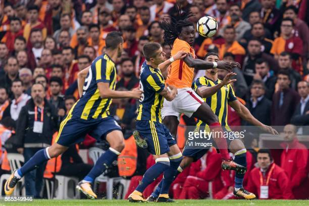 Josef de Souza Dias of Fenerbahce SK Roman Neustadter of Fenerbahce SK Bafetimbi Gomis of Galatasaray SK Nabil Dirar of Fenerbahce SK during the...
