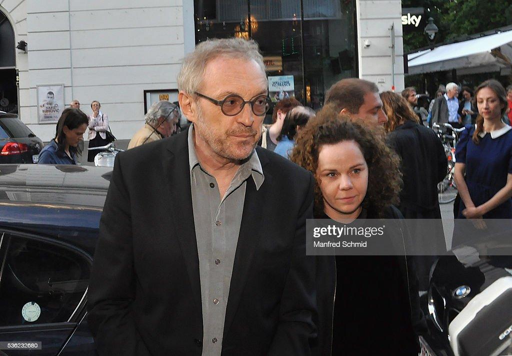 Josef Hader (L) and Sarah Viktoria Frick arrive for the 'Vor der Morgenroete' Vienna premiere at Gartenbau Kino Vienna on May 31, 2016 in Vienna, Austria.