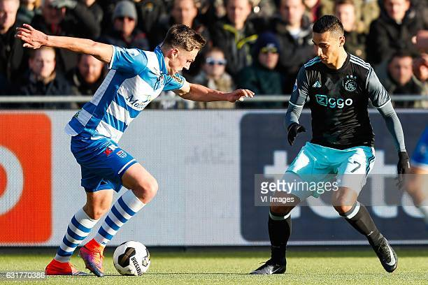 Josef Kvida of PEC Zwolle Anwar El Ghazi of Ajaxduring the Dutch Eredivisie match between PEC Zwolle and Ajax Amsterdam at the MAC3Park stadium on...