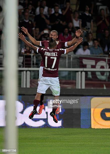 Josef Martinez and Bruno Peres after the third goal of Torino team during Tim Cup 20162017 match between Torino FC and FC Pro Vercelli at the Olympic...