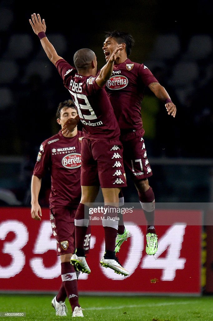 Josef Martinez (R) of Torino celebrates with team mate Bruno Perez after scoring the equalizing goal during the Serie A match between Torino FC and US Citta di Palermo at Stadio Olimpico di Torino on December 6, 2014 in Turin, Italy.