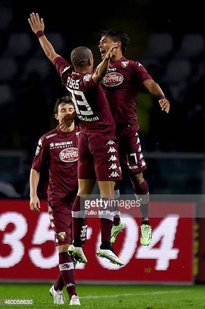 Josef Martinez of Torino celebrates with team mate Bruno Perez after scoring the equalizing goal during the Serie A match between Torino FC and US...