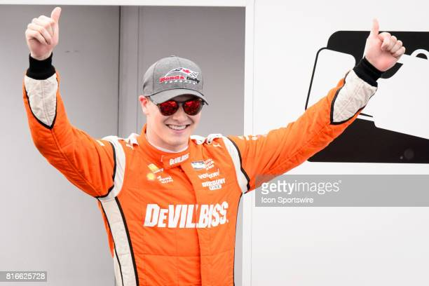 Josef Newgarden of Team Penske gives the thumbs up after winning the Verizon IndyCar Series Race on July 16 2017 at Exhibition Place in Toronto ON...