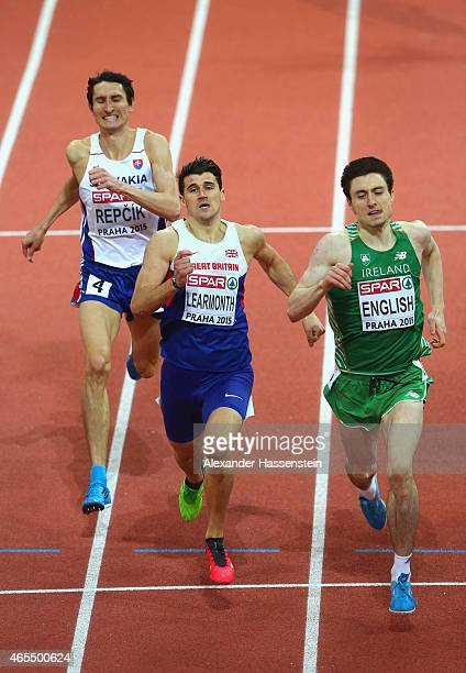 Josef Repcik of SLovakia Guy Learmonth of Great Britain Northern Ireland and Mark English of Ireland compete in the Men's 800 metres Semifinal during...