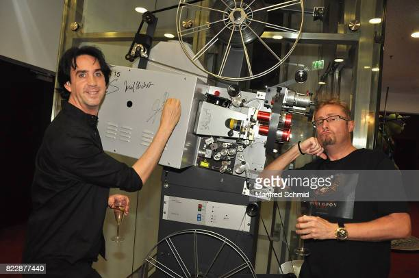 Josef Winkler and Karl Boetel pose during the 'Wish Upon' premiere in Vienna at Lugner Lounge Kino on July 25 2017 in Vienna Austria