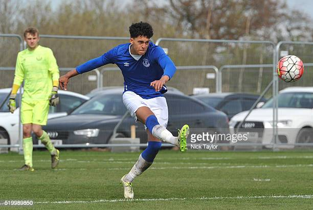 Josef Yarney of Everton in action during the Everton v Liverpool U18 Premier League game at Finch Farm on April 9 2016 in Halewood England