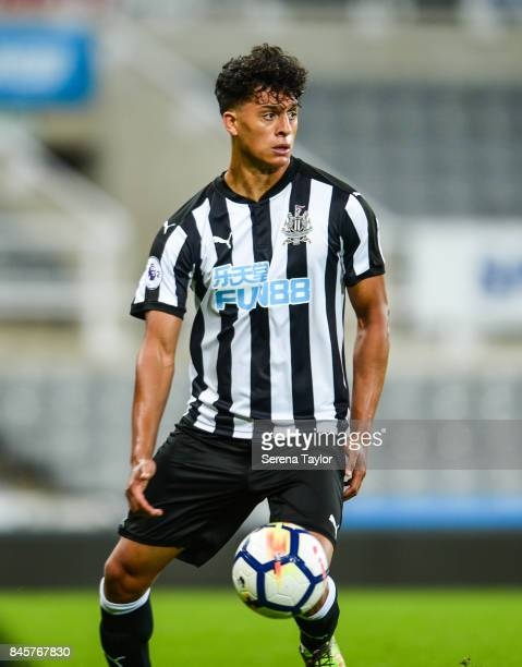 Josef Yarney of Newcastle United controls the ball during the Premier League 2 match between Newcastle United and Norwich City at StJames' Park on...