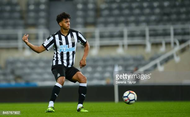 Josef Yarney of Newcastle United passes the ball during the Premier League 2 match between Newcastle United and Norwich City at StJames' Park on...