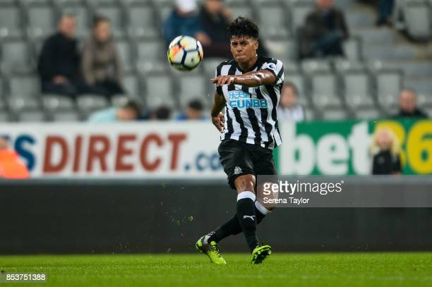 Josef Yarney of Newcastle United passes the ball during the Premier League 2 match between Newcastle United and Wolverhampton Wanderers at StJames'...
