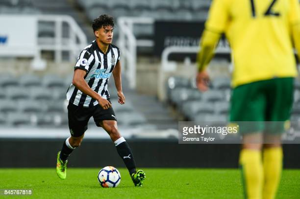 Josef Yarney of Newcastle United runs with the ball during the Premier League 2 match between Newcastle United and Norwich City at StJames' Park on...