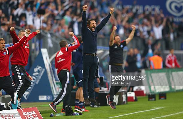 Josef Zinnbauer headcoach of Hamburg celebrates during the Bundesliga match between Hamburger SV and Eintracht Frankfurt at Imtech Arena on September...