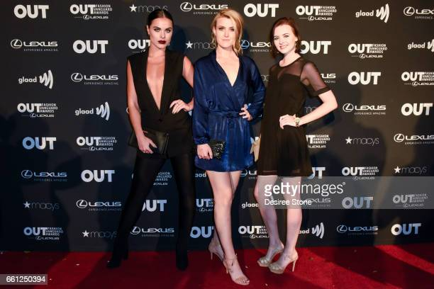 Josefin Nilsson Brie Kristiansen and Lexi Hammonds attend the 2nd Annual OUT Fashion Vanguard Awards at Taglyan Complex on March 30 2017 in Los...