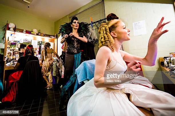 Josefina Gabriella playing 'Evil Witch' and Amy Lennox playing 'Princess Pertunia' prepare in their dressing room prior to the Puss in Boots...