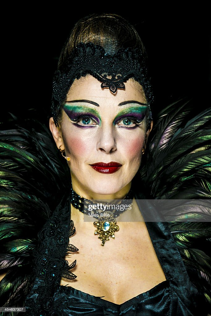 Josefina Gabriella playing 'Evil Witch' poses for a portrait during the Puss in Boots pantomime at the Hackney Empire on December 6, 2013 in London, England.