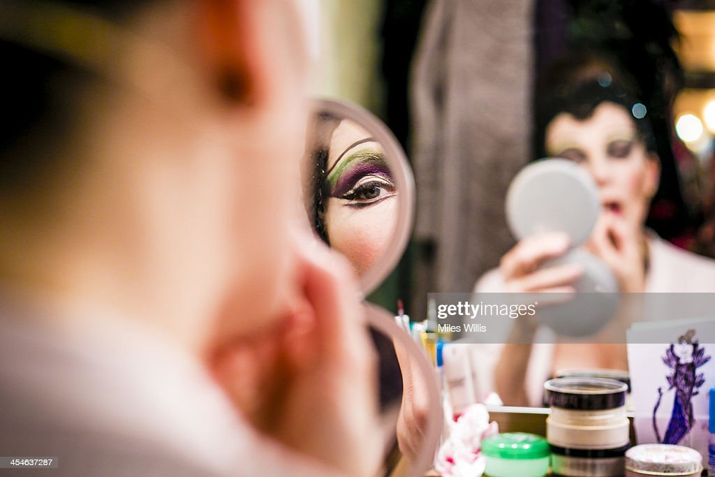 Josefina Gabriella playing 'Evil Witch' prepares in her dressing room prior to the Puss in Boots pantomime at the Hackney Empire on December 6, 2013 in London, England.