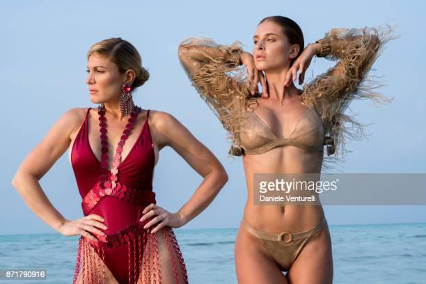 Josefine Forsberg and Hofit Golan are seenat Hideaway Beach Resort Spa on November 8 2017 in Male Maldives