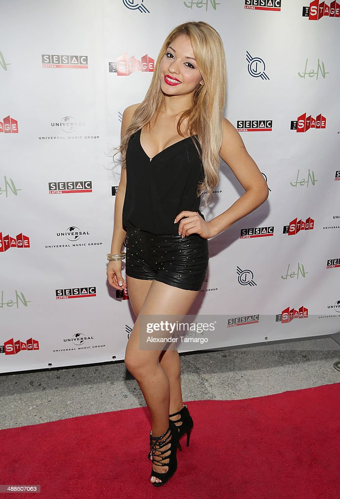 Josefine Ochoa arrives at the Jencarlos Canela private concert to present his new album 'Jen' at The Stage on May 6, 2014 in Miami, Florida.