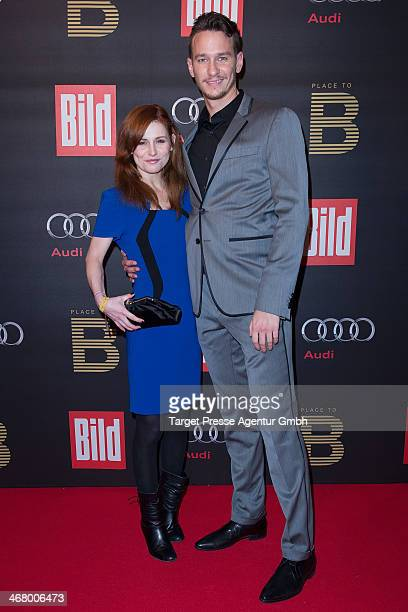 Josefine Preu§ and Vladimir Burlakov attend the BILD 'Place to B' Party at Grill Royal on February 8 2014 in Berlin Germany