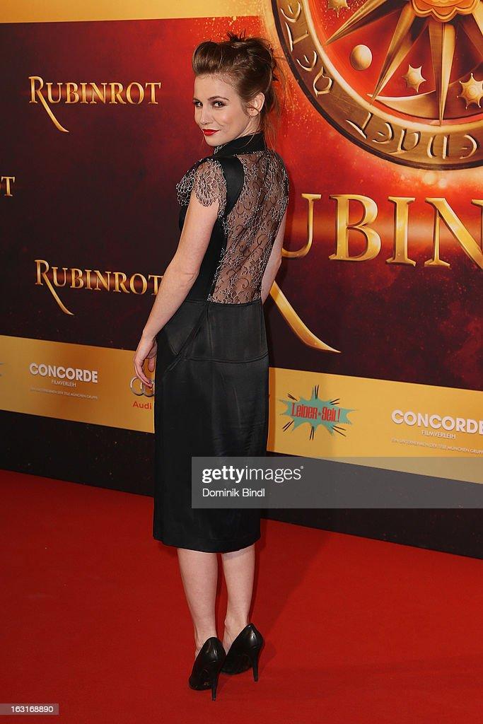 Josefine Preuß attends the 'Rubinrot' premiere on March 5, 2013 in Munich, Germany.