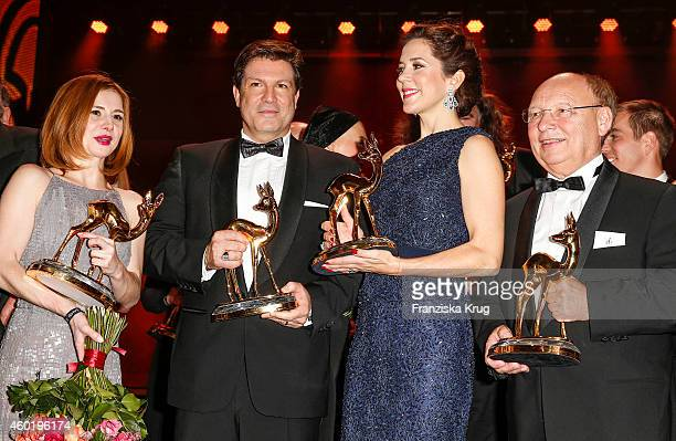 Josefine Preuss Francis FultonSmith Princess Mary of Denmark and Hans Joachim Heist pose with their awards after the Bambi Awards 2014 show on...