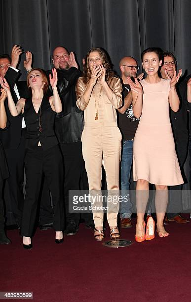 Josefine Preuss Marie Baeumer Peri Baumeister attend the premiere of the film 'Irre sind maennlich' at Mathaeser Filmpalast on April 10 2014 in...