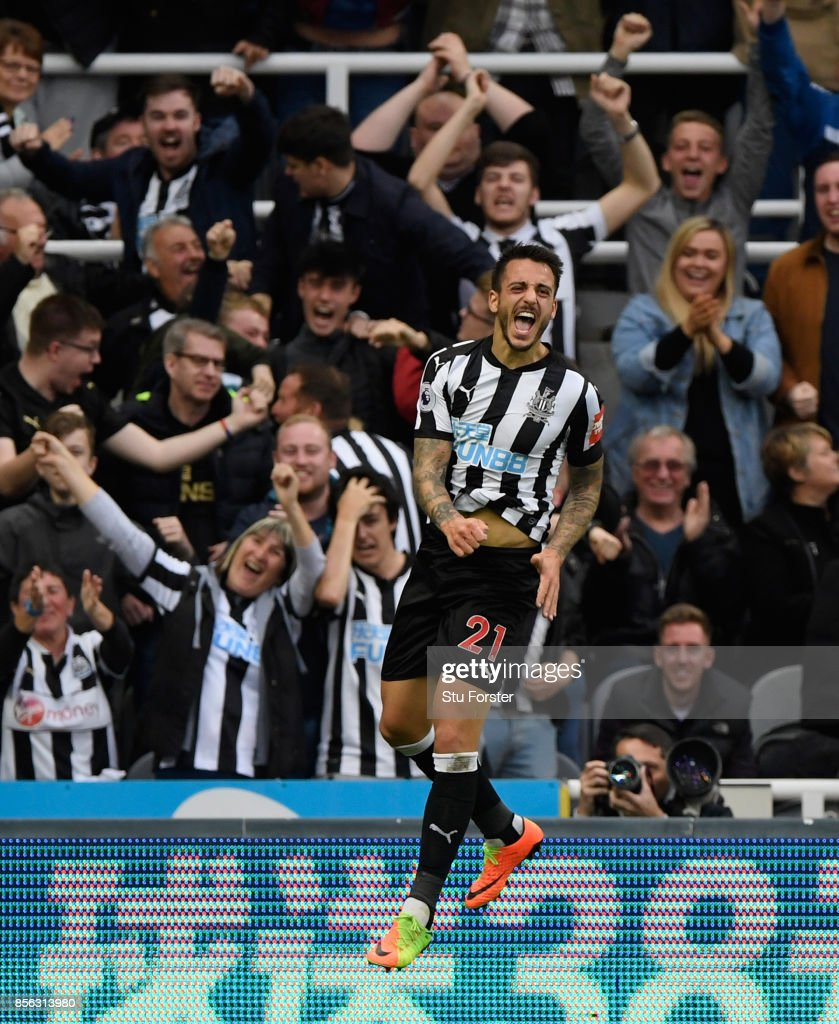 Joselu celebrates after scoring for Newcastle during the Premier League match between Newcastle United and Liverpool at St. James Park on October 1, 2017 in Newcastle upon Tyne, England.