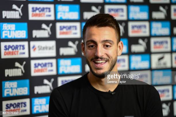 Joselu during his first club tv interview at The Newcastle United Training Centre on August 14 in Newcastle upon Tyne England