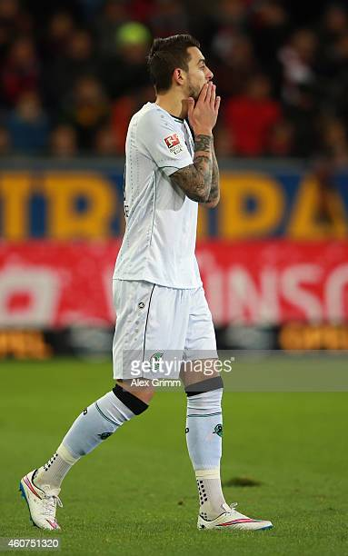 Joselu of Hannover reacts during the Bundesliga match between SC Freiburg and Hannover 96 at SchwarzwaldStadion on December 21 2014 in Freiburg im...