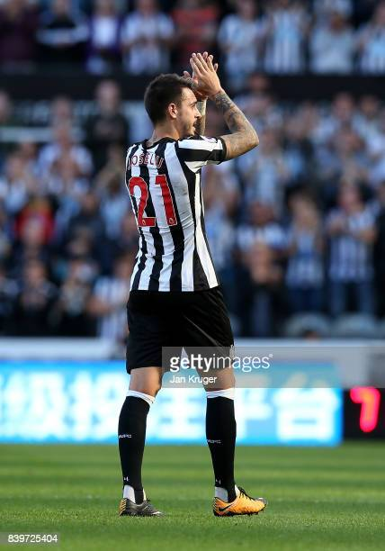 Joselu of Newcastle United applauds the crowd during the Premier League match between Newcastle United and West Ham United at St James Park on August...