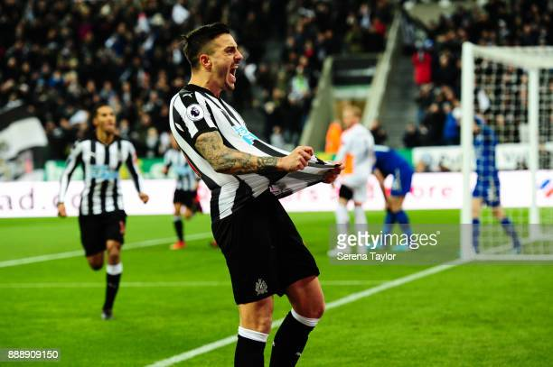 Joselu of Newcastle United celebrates after he scores the opening goal during the Premier League match between Newcastle United and Leicester City at...