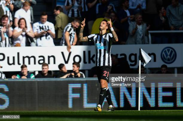Joselu of Newcastle United celebrates after scoring the opening goal during the Premier League Match between Newcastle United and West Ham United at...
