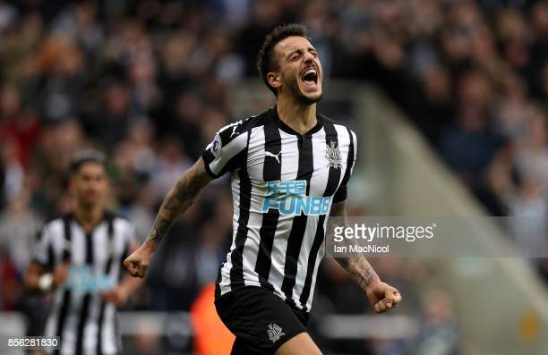 Joselu of Newcastle United celebrates scoring his sides first goal during the Premier League match between Newcastle United and Liverpool at St James...