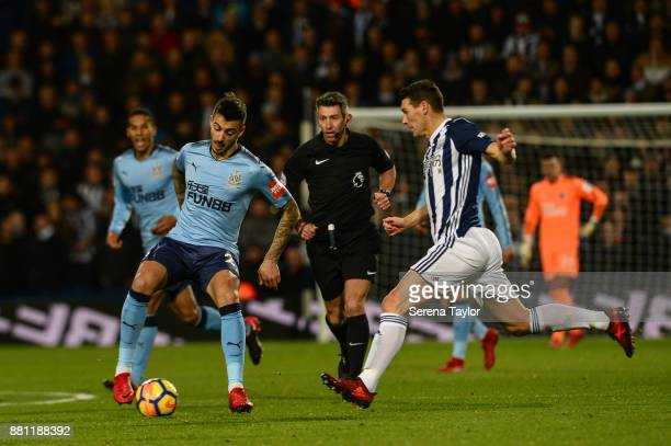 Joselu of Newcastle United controls the ball during the Premier League match between West Bromwich Albion and Newcastle United at The Hawthorns on...