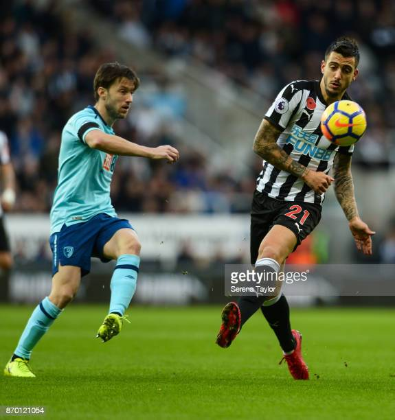 Joselu of Newcastle United passes the ball during the Premier League match between Newcastle United and AFC Bournemouth at StJames' Park on November...
