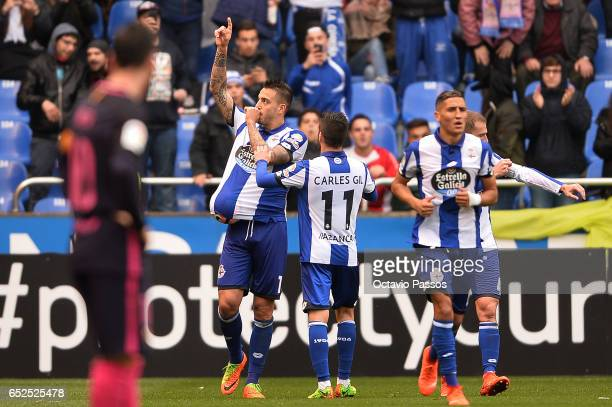 Joselu of RC Deportivo La Coruna celebrates after scoring a goal against FC Barcelona during the La Liga match between RC Deportivo La Coruna and FC...