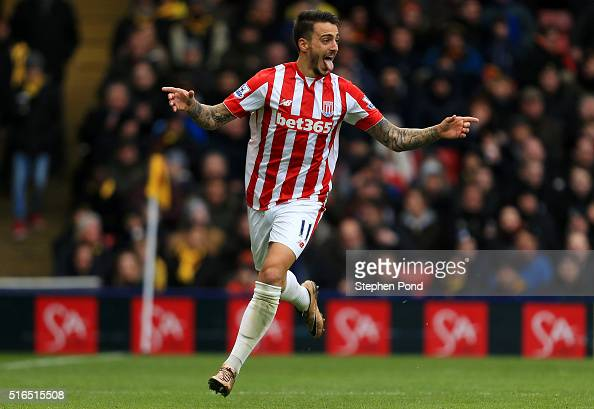 Joselu of Stoke City celebrates scoring his team's second goal during the Barclays Premier League match between Watford and Stoke City at Vicarage...