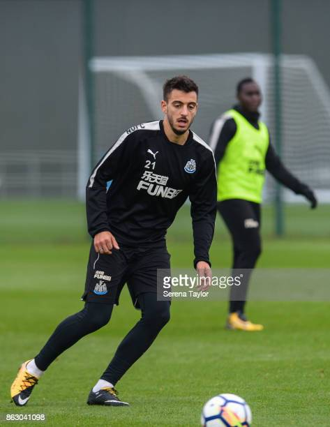 Joselu passes the ball during the Newcastle United Training session at the Newcastle United Training Centre on October 19 in Newcastle England