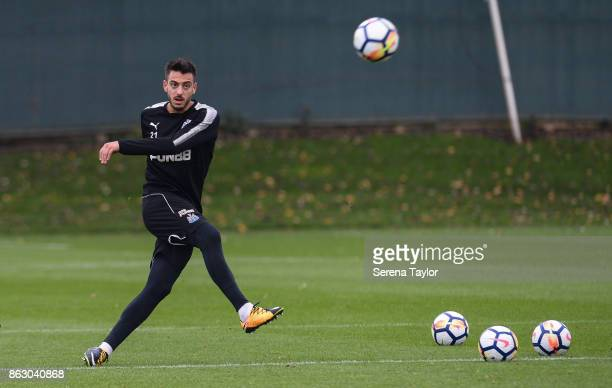 Joselu strikes the ball during the Newcastle United Training session at the Newcastle United Training Centre on October 19 in Newcastle England