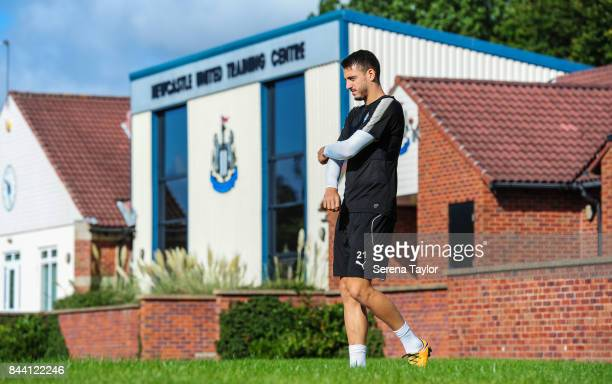 Joselu walks outside during the Newcastle United Training session at the Newcastle United Training ground on September 8 in Newcastle upon Tyne...