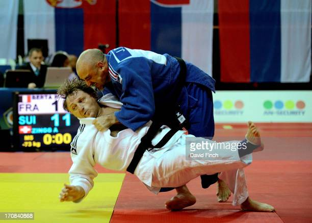 JoseManuel Pajaro of France sweeps Igor Zinovkin of Russia to the mat for ippon on his way to the u90kgs final where he won the M5 silver medal...