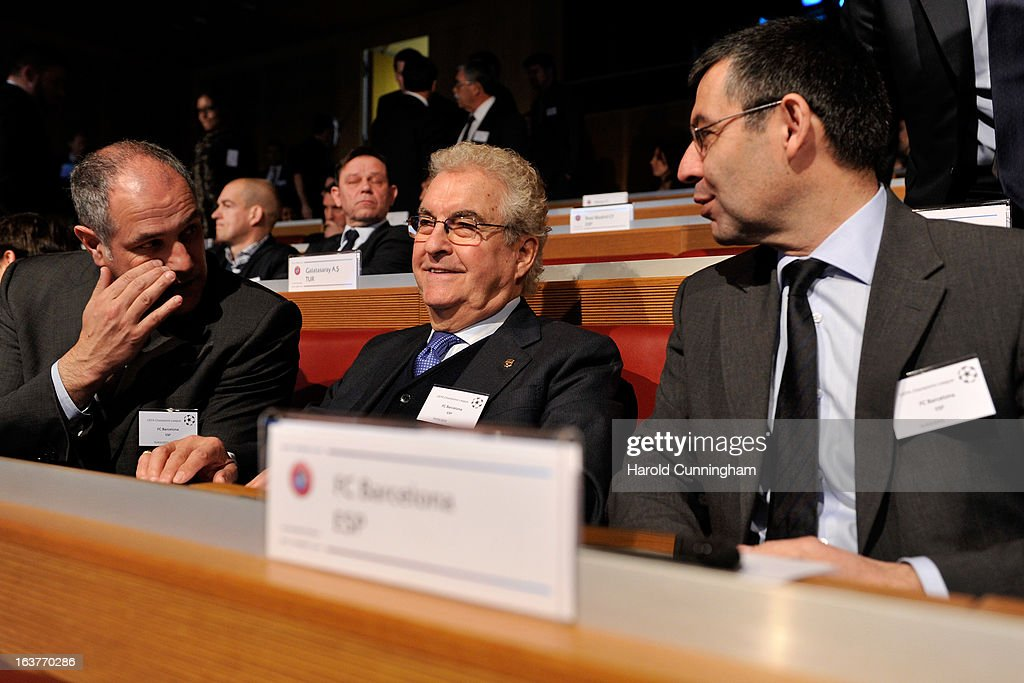 Jose-Maria Bartomeu, FC Barcelona Vice-President (R), during the UEFA Champions League quarter finals draw at the UEFA headquarters on March 15, 2013 in Nyon, Switzerland.