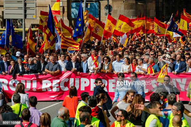 Josep Borrell Mario Vargas Llosa Javier Albiol Albert Rivera Ines Arrimades and Miglio led the demonstration against the independence of Catalonia in...