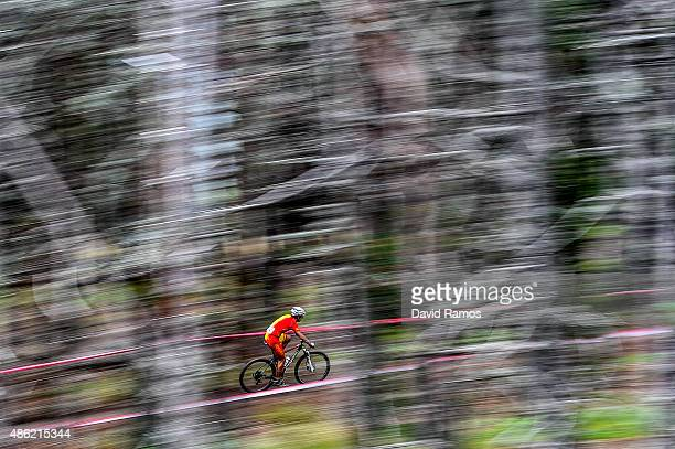 Josep Duran of Spain competes in the CrossCountry Team Relay race during day 2 of the UCI Mountain Bike Trials World Championships on September 2...